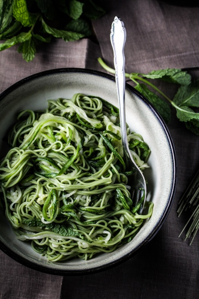 Green Tea and Zucchini Noodles with Honey-Ginger Sauce {Katie at the Kitchen Door}