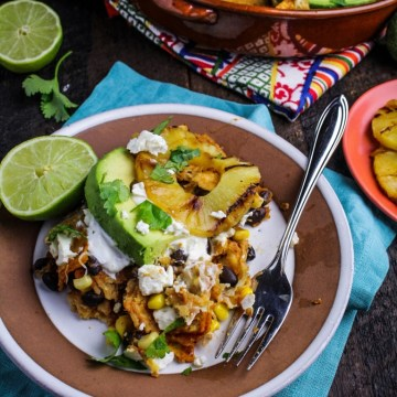 Chipotle and Black Bean Chilaquiles with Grilled Pineapple {Katie at the Kitchen Door}