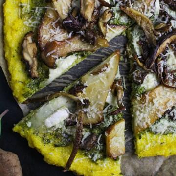 Polenta Pizza with Wild Mushrooms and Ramp Pesto {Katie at the Kitchen Door}