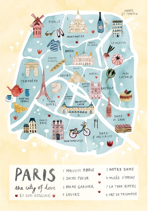 illustrated-paris-city-map-art-print - Katie Considers