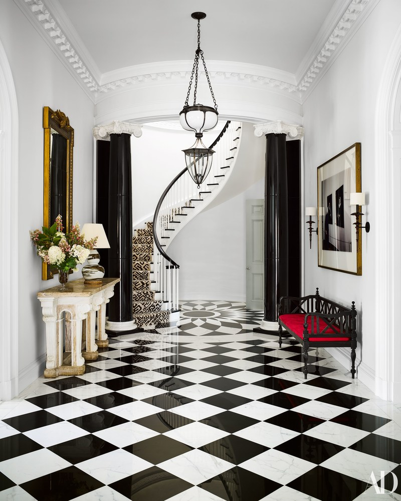 Black And White Marble Floors Mary Ann Tighe Southampton Home Bunny Williams Checkerboard Marble