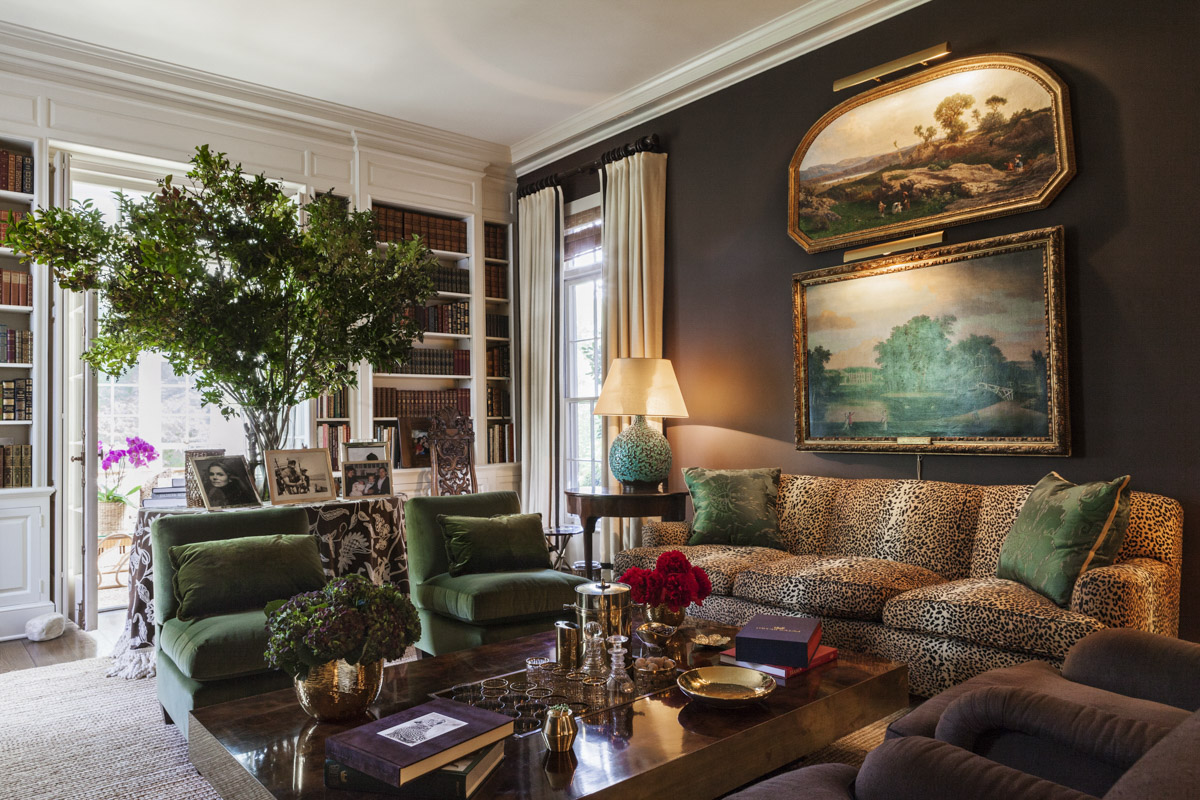 Aerin Lauder East Hampton Home Leopard Print Sofa Brown Walls Living Room Green Chairs Hye Ryoung Min Katie Considers