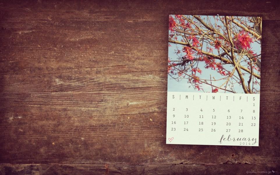 February 2014 Calendar from katienormalgirl.com- 1920x1200 16x10ratio