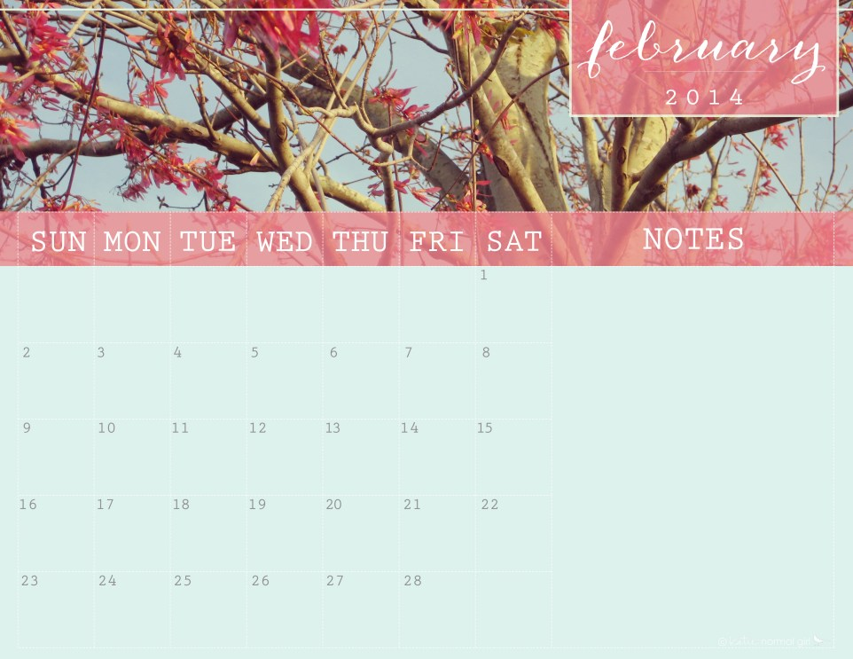 February 2014 Calendar from katienormalgirl.com- printable writeable