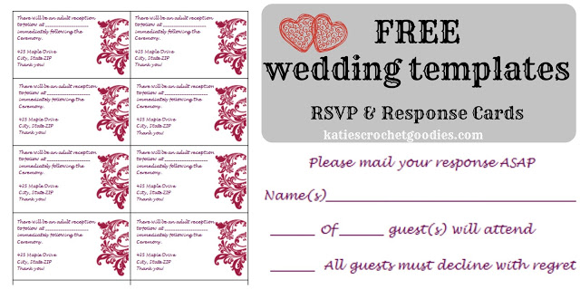 Free Wedding Templates RSVP  Reception Cards - Katie\u0027s Crochet Goodies