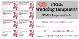 Free Wedding Templates: RSVP & Reception Cards