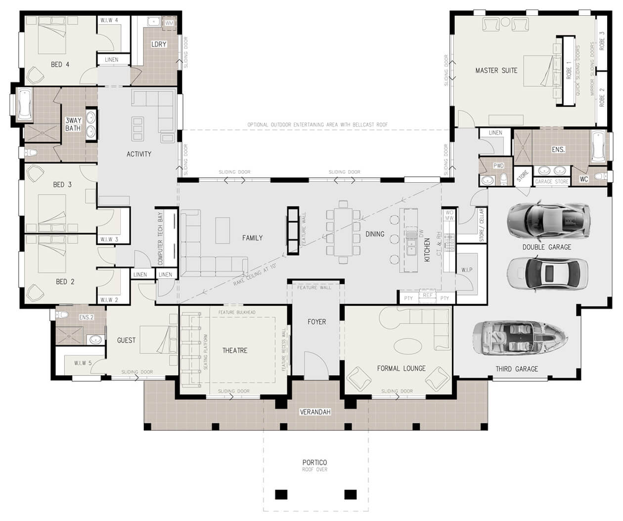 Us Homes Floor Plans Floor Plan Friday U Shaped 5 Bedroom Family Home