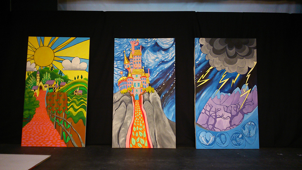 Backdrop, flats, stage set, paintings,