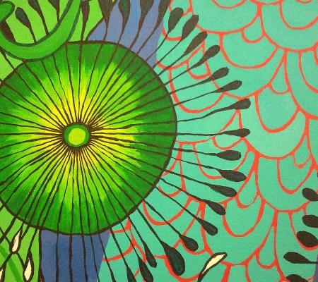 merman, sea urchin, painting, patterns