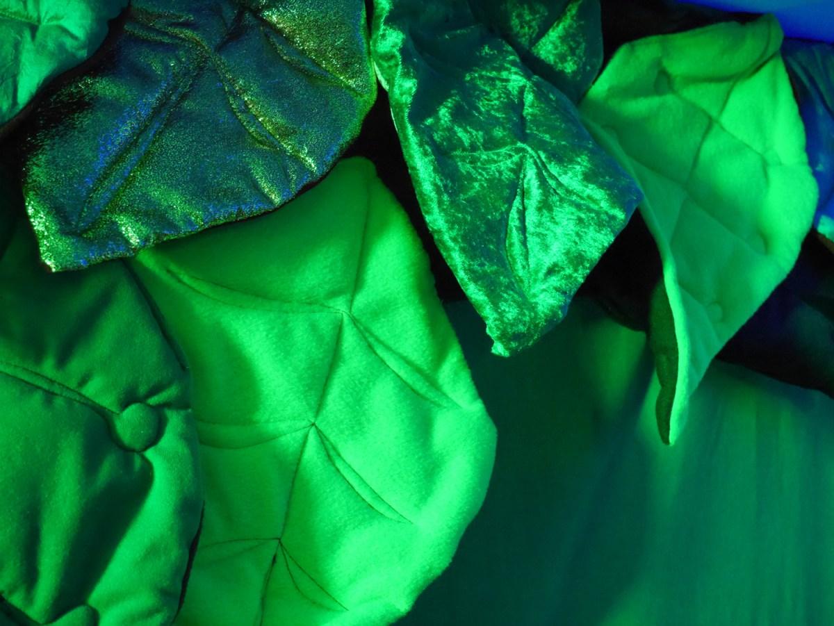Leaves, fabric art, sculptural textiles, tactile art for kids