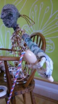 skipping girl, props, Willow sculpture, paper mache