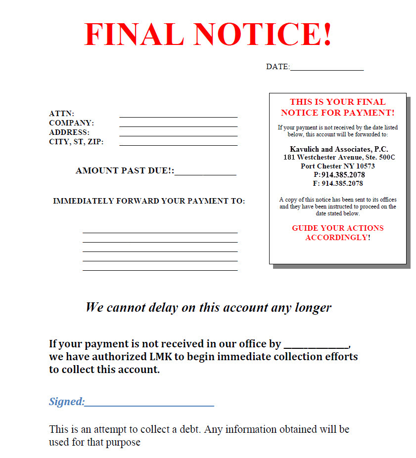 Commercial Debt Collection Lawyer Westchester Business Debt - sample final notice letter