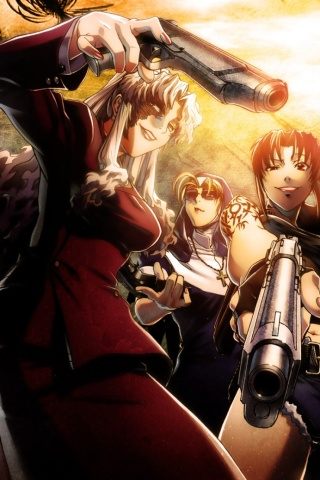 Black Wallpaper Android Black Lagoon Revy Balalaika Eda 320x480