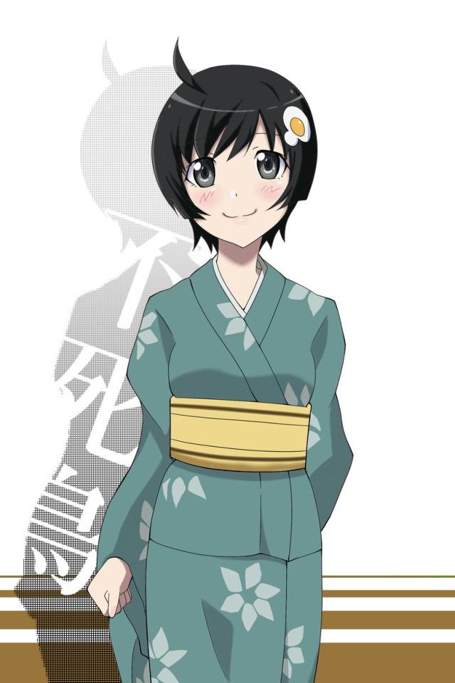 Kimono Anime Girl Android Wallpaper Nisemonogatari Tsukihi Araragi 640x960