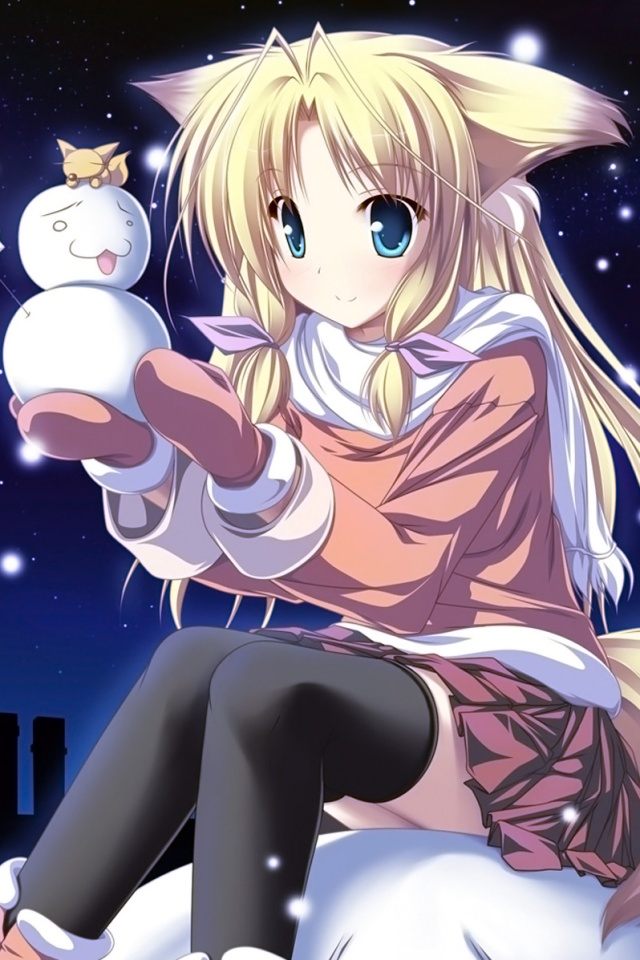Asuna Android Cute Wallpaper Christmas Anime Wallpaper Iphone 4 Wallpaper 640x960 7