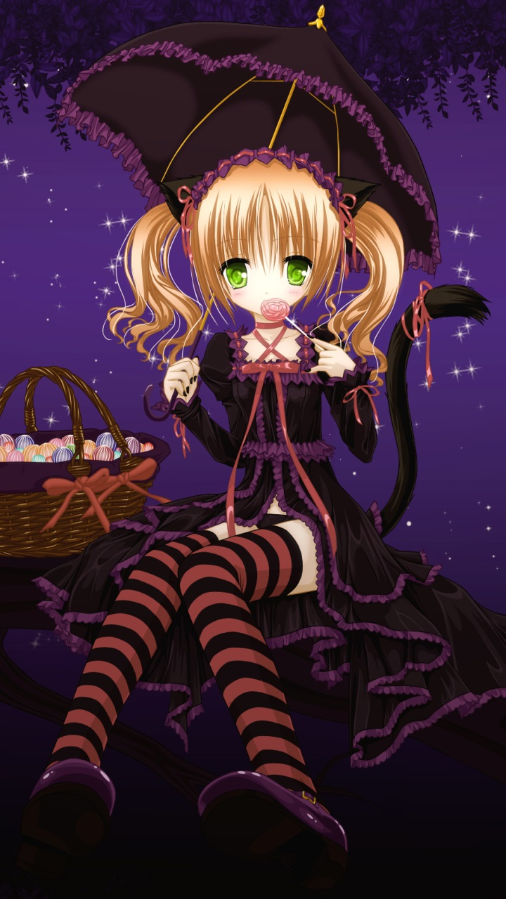 Anime Girl Kawaii Wallpaper Anime Halloween 2013 Sony Lt26i Xperia S Wallpaper 720x1280