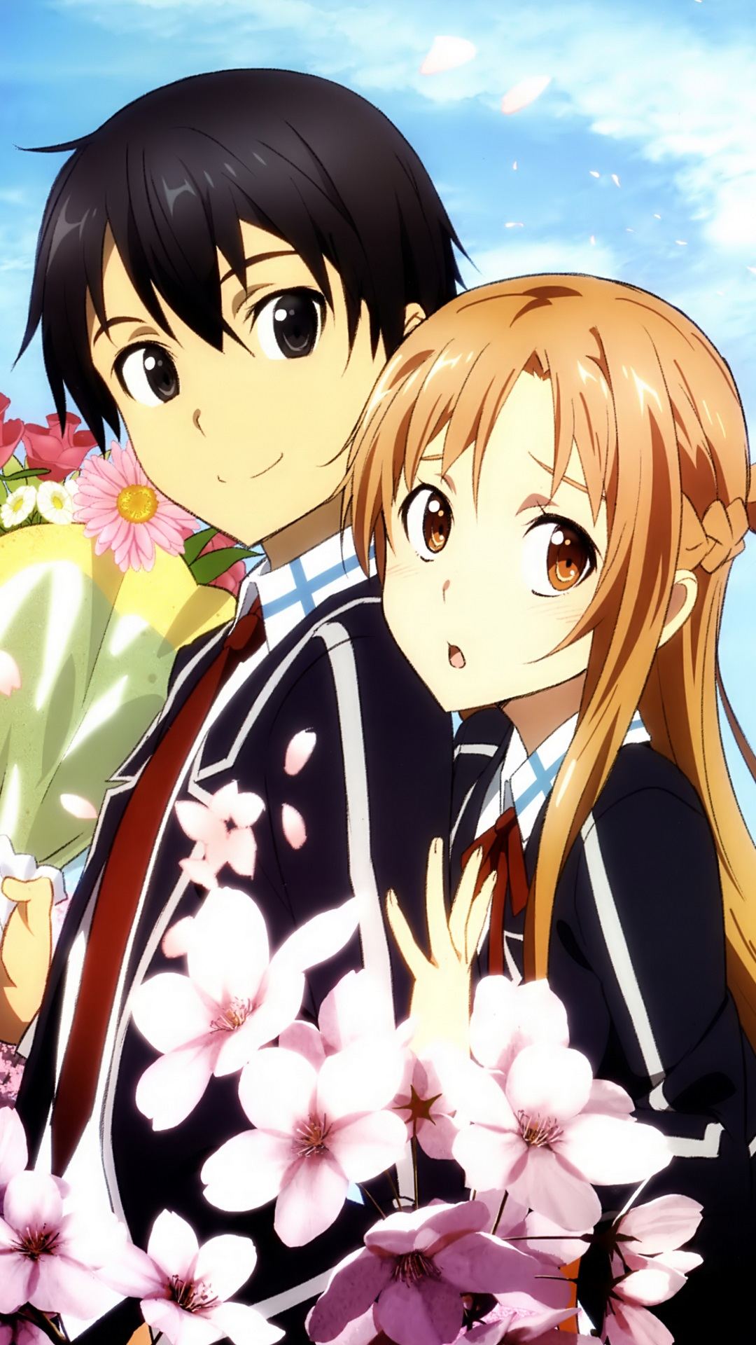 Cute Mobile Wallpaper For Samsung Galaxy Y Sword Art Online 2 Kirito Asuna Lenovo K900 Wallpaper