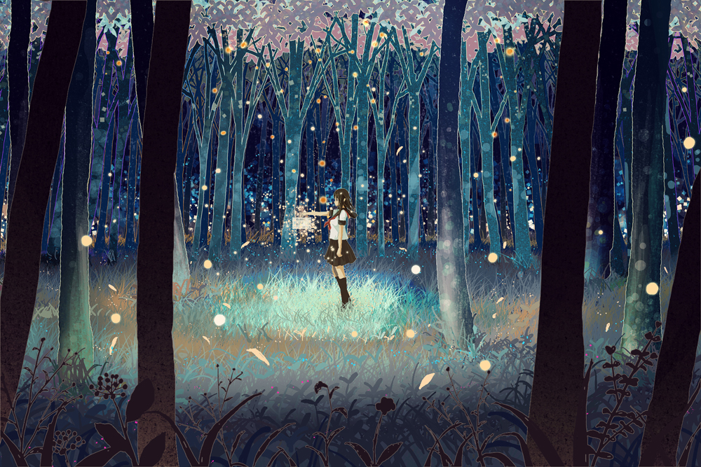 Pretty Pastel Anime Girl Wallpaper Firefly Forest Kawaii Wallpaper