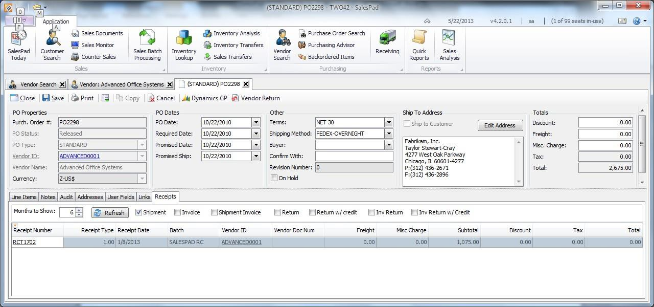Vendor Card and Purchase Order Receipts Tab - SalesPad Support