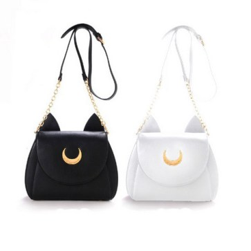 Samantha-Vega-20Y-Limited-Sailor-Moon-Bag-Ladies-genuine-leather-Handbag-Black-White-Cat-Luna-Moon