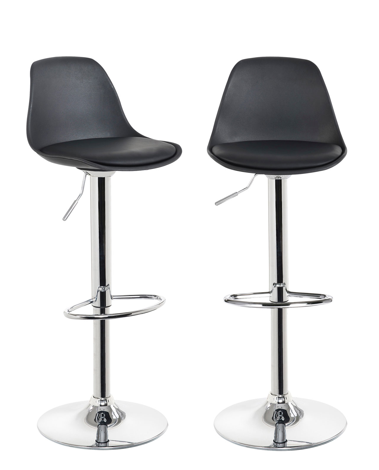 Lot De 2 Tabourets De Bar Blanc Lou Lot De 2 Tabourets De Bar Noir Blanc