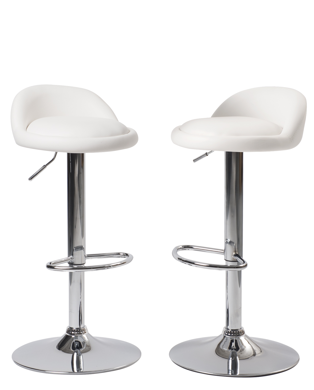 Tabourets De Bar Réglables Rubens Sati Lot De 2 Tabourets De Bar Pu Et Chrome