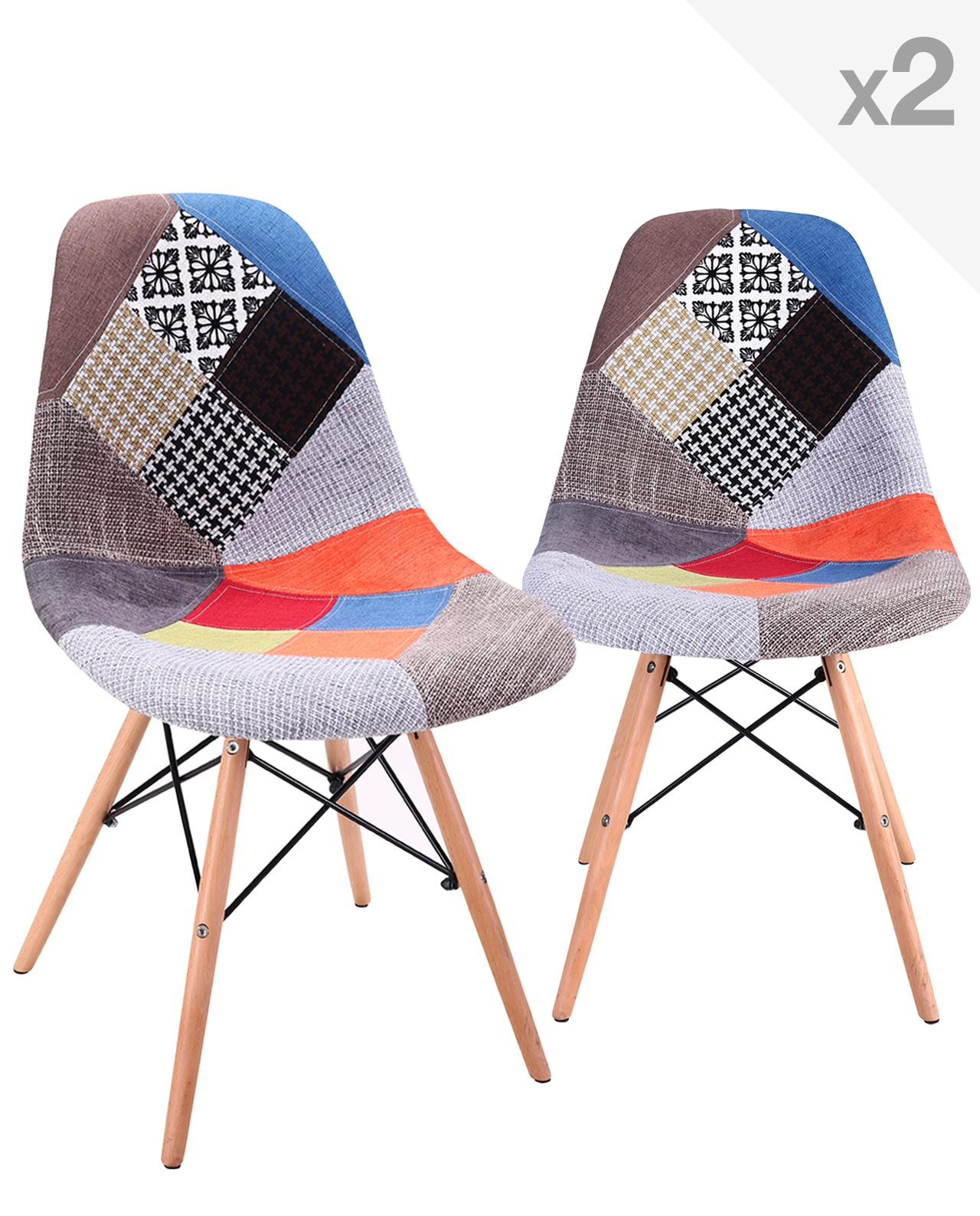 Chaises Scandinave Patchwork Nadir Lot De 2 Chaises Dsw Design Scandinave Patchwork