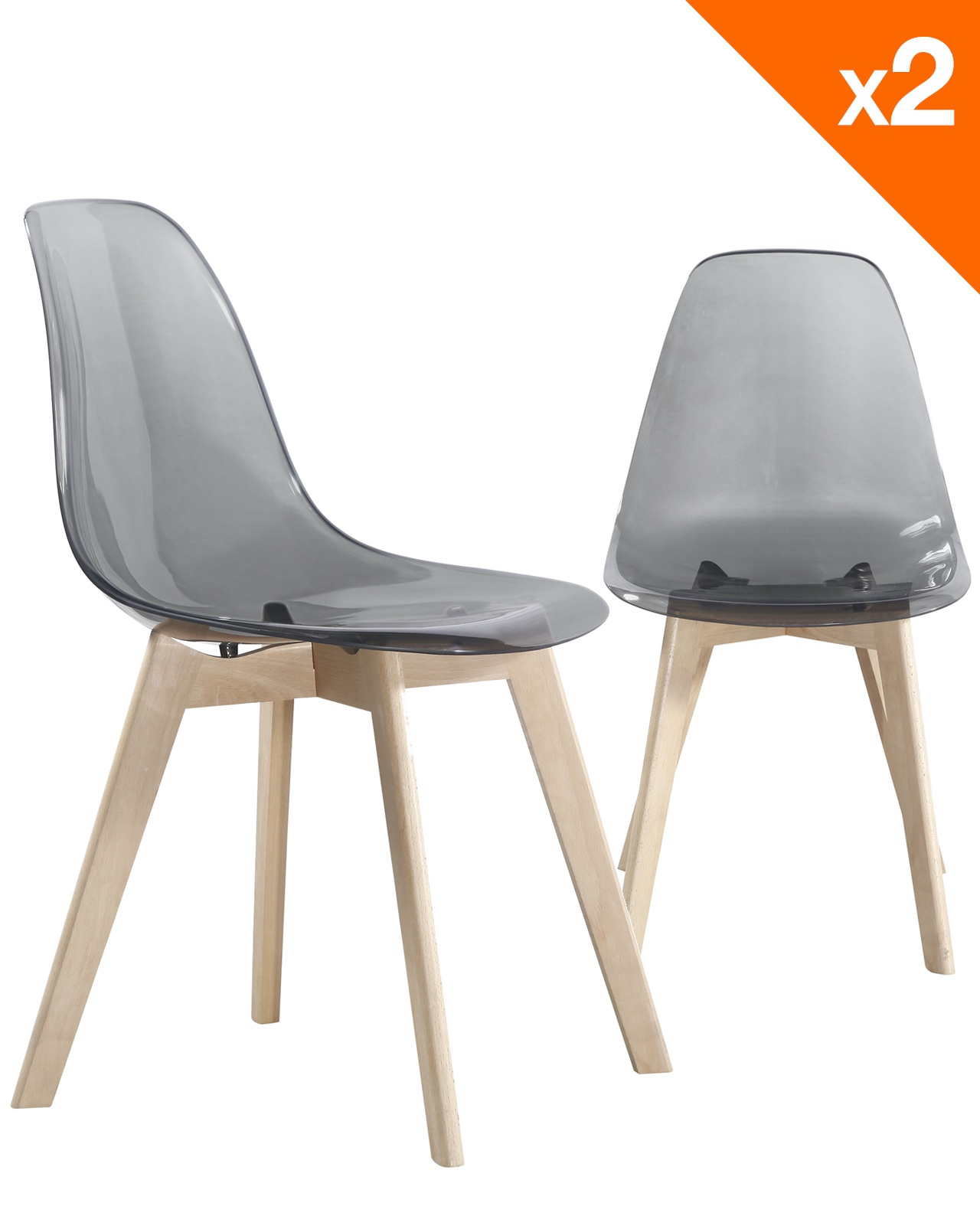 Lot Chaise Scandinave Lao Chaise Scandinave Lot De 2 Gris Fumé