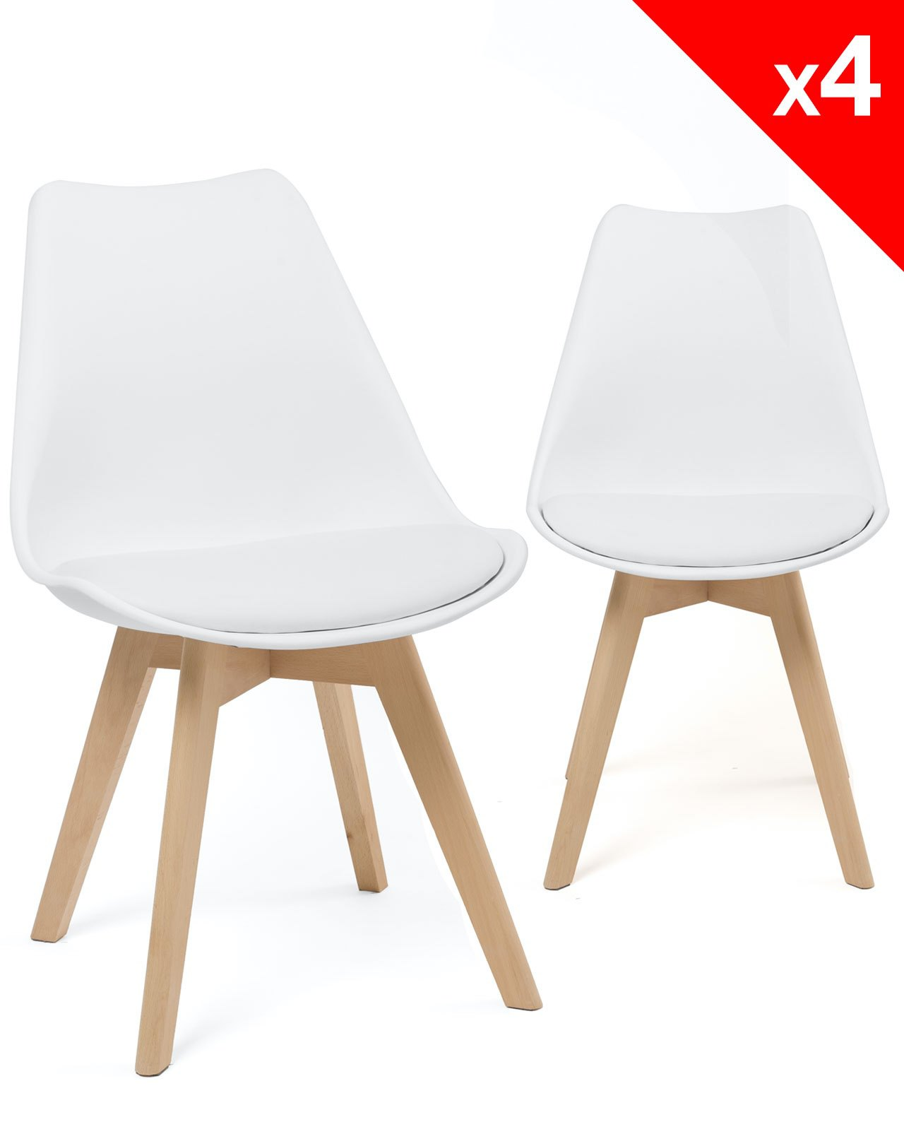 Lot Chaise Scandinave Lao Lot De 4 Chaises Scandinave Rembourrées