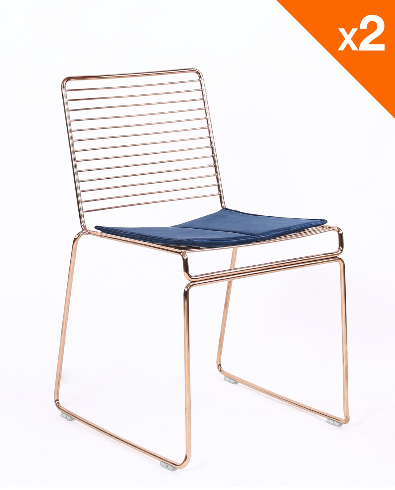 Lot De Chaises Design Rossa Chaise Design Fil Métal Lot De 2