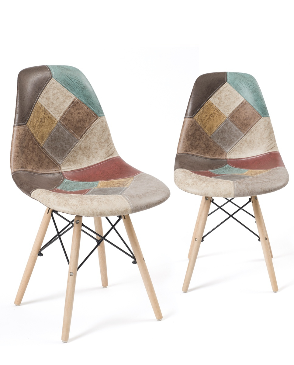 Chaise Design Patchwork Nadir Lot De 2 Chaises Design Dsw Rembourrées