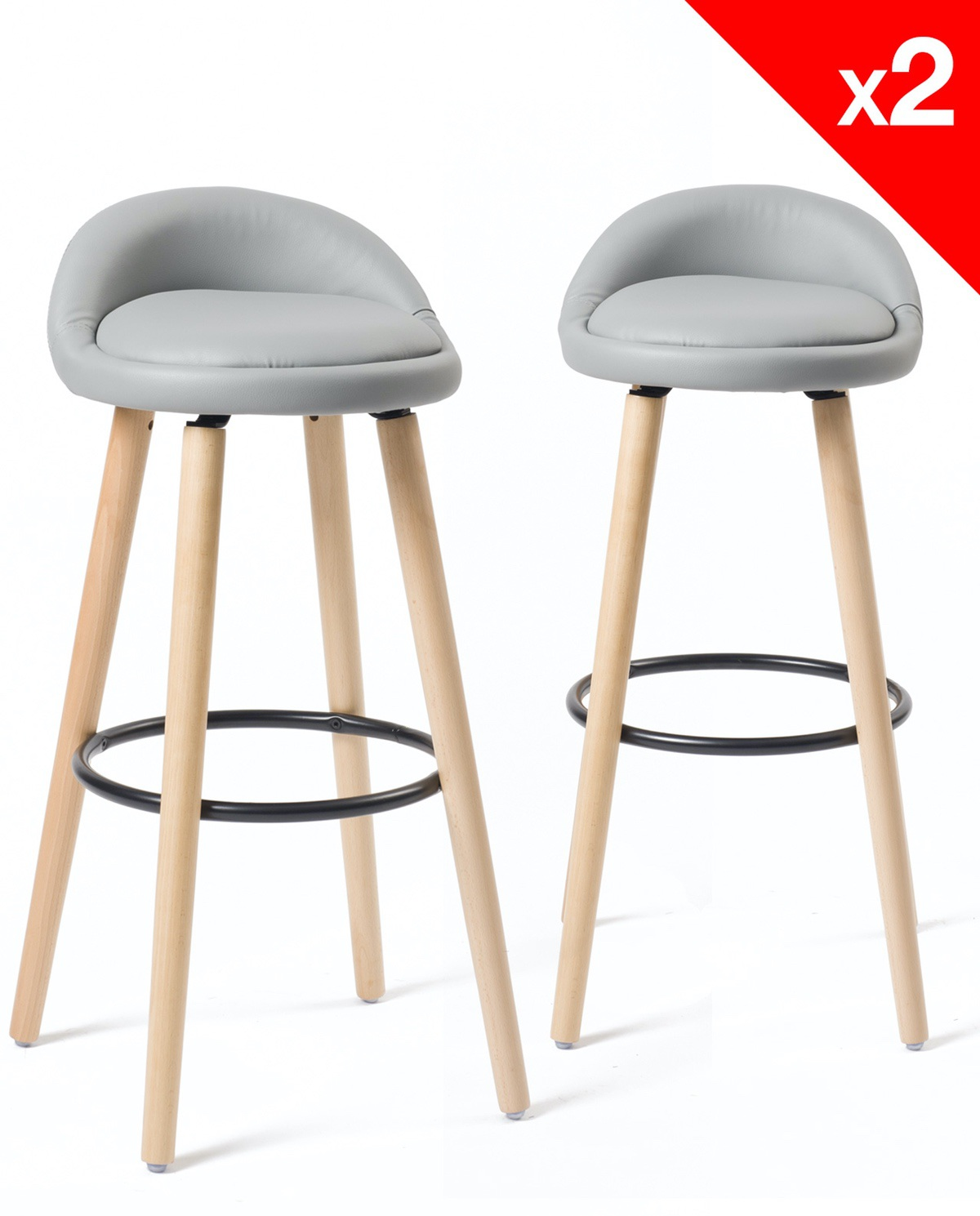 Tabouret De Bar Gris Clair Sata Tabourets De Bar Scandinaves Lot De 2