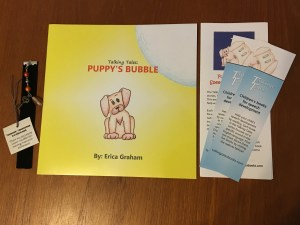 Signed Puppy's Bubble by Erica Graham, plus hand-made bubble bookmark, illustrated bookmarks, and book donation to a child in need.