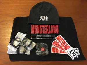Tshrit, hat, bumper stickers, fidget spinner, wristbands, and pencils for Monsterland by Michael Okon.