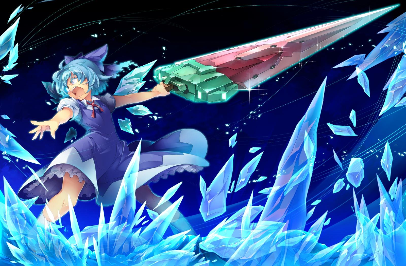Cute Anime Girl Gun Wallpaper Konachan Com 149636 Blue Hair Cirno Kokka Han Short Hair