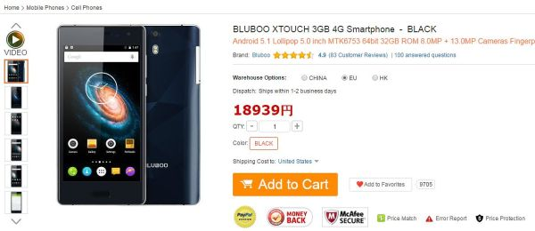 BLUBOO XTOUCH 3GB 4G Smartphone  -  BLACK