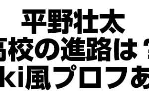 平野壮太の進路はどこの高校?wiki無いからプロフィール調べた!
