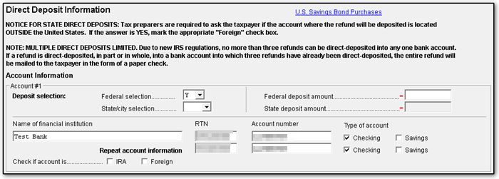 1040 - Return with Direct Deposit and Direct Debit