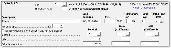 1040 - Recapturing Depreciation