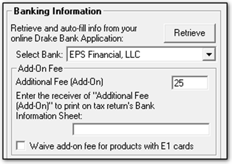 Bank Product Add On Fee