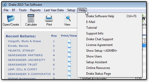 Drake Software Help Menus