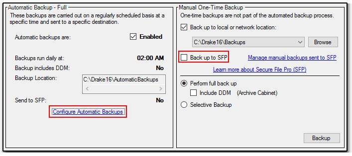 SFP - Making, Storing, and Deleting Backups