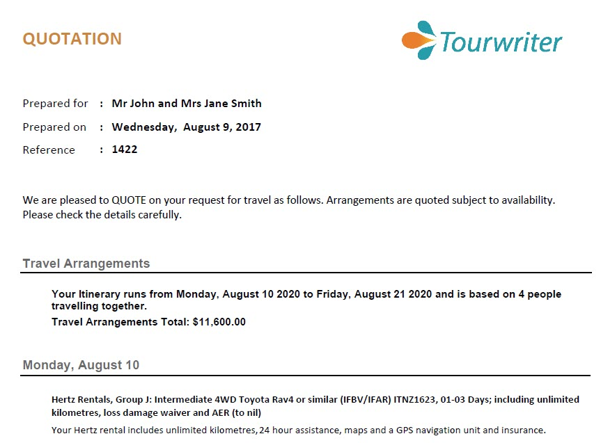 Suite of Reports - Tourwriter Knowledge Base - travel quotation sample