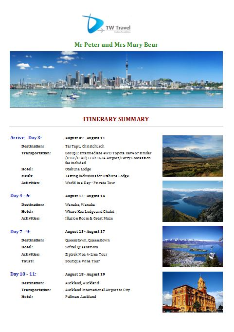 Itinerary Template 5 cover page - Tourwriter Knowledge Base