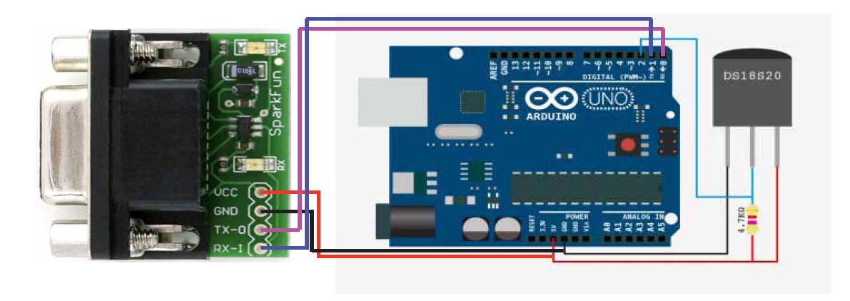 How To build a simple digital temperature sensor with RS232 serial