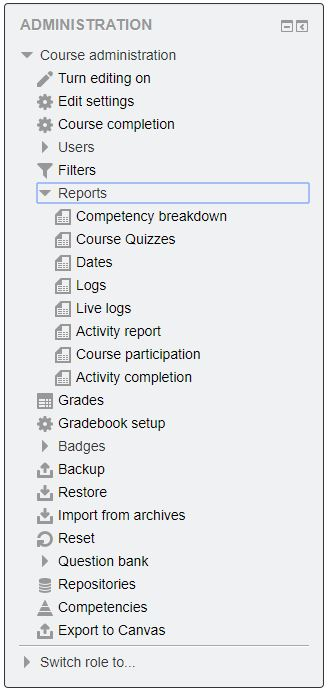 Moodle - Running Reports