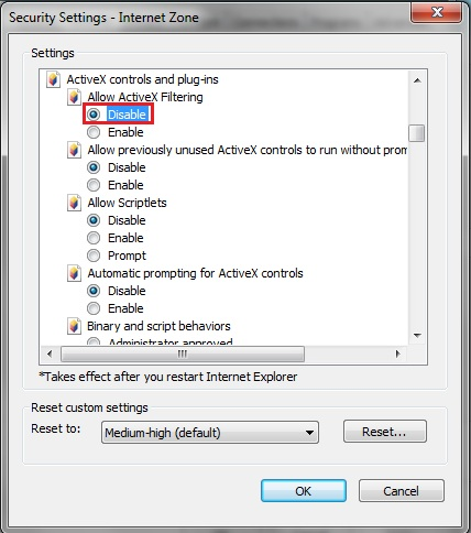 Zmodo Knowledge Base - ActiveX Settings for Internet Explorer