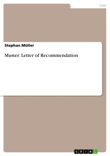 Muster Letter of Recommendation eBook by Stephan Müller