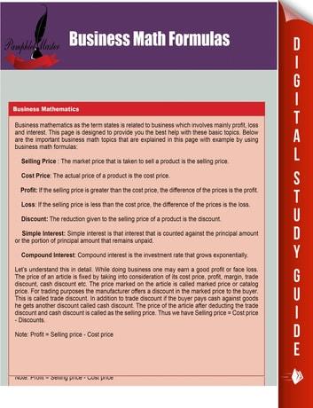 Business Math Formulas eBook by Pamphlet Master - 9781635010855 - business math