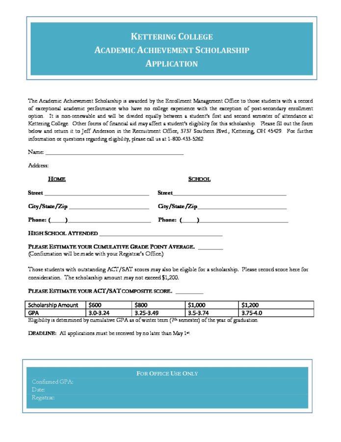 Academic Achievement Scholarship Form - Kettering College